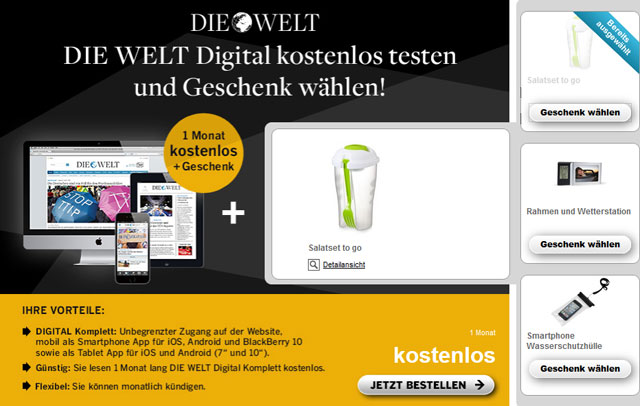 die welt digital f r 1 monat kostenlos testen pr miengeschenk gratis. Black Bedroom Furniture Sets. Home Design Ideas