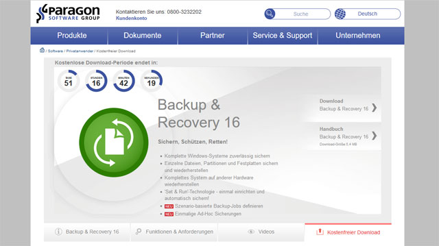 Paragon Backup Recovery kostenlos