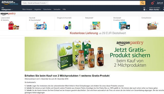 Amazon pantry Gratis