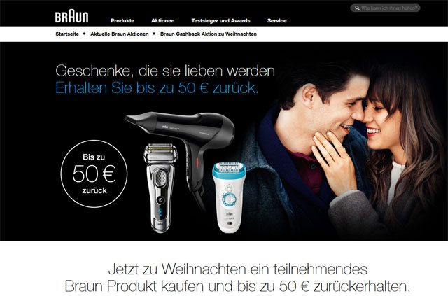 Braun Produkte Cash Back