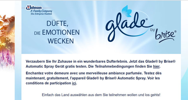 glade by brise automatic spray ger t kostenlos testen. Black Bedroom Furniture Sets. Home Design Ideas